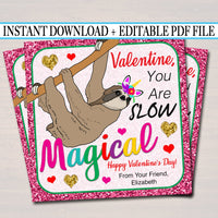EDITABLE Sloth Unicorn Valentine's Day Cards, INSTANT DOWNLOAD, Printable Kids Tween Valentine, Classroom Valentines, Girl Magical Glitter