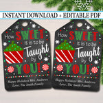Printable Christmas Teacher Favor Tags, Holiday Appreciation Labels Printable INSTANT +  Thank You Gift, Xmas Candy Cookie Treat Tag