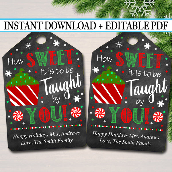Printable Christmas Teacher Favor Tags, Holiday Appreciation Labels Printable INSTANT + EDITABLE Thank You Gift, Xmas Candy Cookie Treat Tag