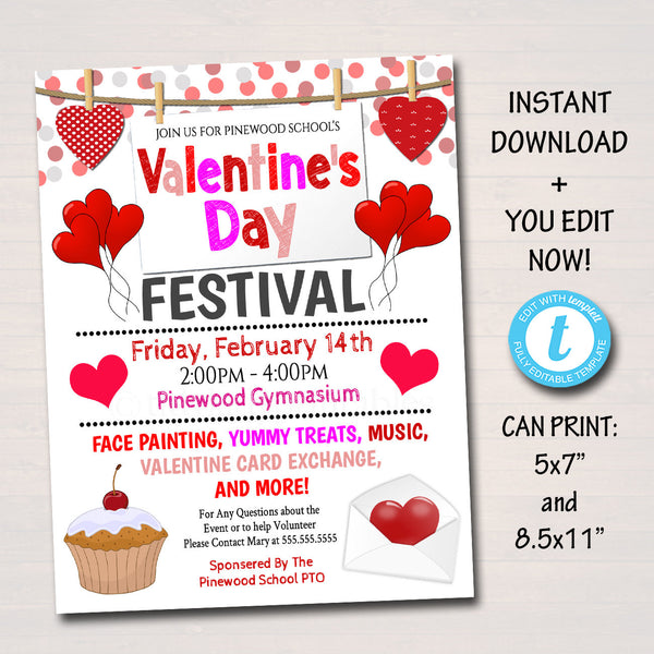 EDITABLE Valentine's Day Festival School Flyer, Valentine Party Invite School Church Community Event Card Exchange, pto pta INSTANT DOWNLOAD