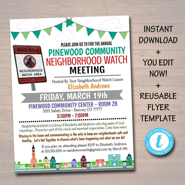 Neighborhood Watch Meeting Event Flyer Church Community School Event Neighborhood Safety Meeting Invite Template