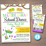 Mardi Gras Dance Set School Dance Flyer Party Invite, Church Community Event, King Queen Prom Dance, pto pta,