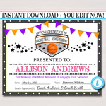 EDITABLE Basketball Certificates, INSTANT DOWNLOAD Basketball Team Awards, Basketball Party Printable, Printable Sports Certificate Awards