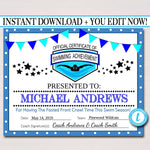 EDITABLE Swim Team Award Certificates, INSTANT DOWNLOAD, Swimming Awards, Swimmer Party Printable, Printable Award Sports Swim Certificates