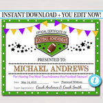 EDITABLE Football Award Certificates, INSTANT DOWNLOAD, Team Football Awards, Football Party Printable, Printable Award Sports Certificates