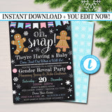 Gender Reveal Party Invitation, Christmas Invite, Cookie Baby Shower, Pink or Blue Snowflake, Gingerbread Oh Snap!