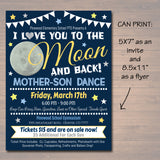 Mother Son Dance Set School Dance Flyer Party Invitation, Starry Night Event Church Community Event, pto, pta,