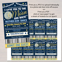 EDITABLE Mother Son Dance Set School Dance Flyer Party Invitation, Starry Night Event Church Community Event, pto, pta, INSTANT DOWNLOAD