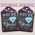 EDITABLE Gem Valentine's Day Gift Tags, Staff Teacher Friend, Classroom Candy Ring Printable, Valentine You're a Real Gem, INSTANT DOWNLOAD