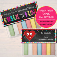 EDITABLE Valentine's Chalk Bag Toppers, Classroom Student Gift INSTANT DOWNLOAD Printable Non Candy Valentine, Hope is Chalk Full of Fun