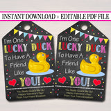 EDITABLE Rubber Duck Valentine's Day Gift Tags, Daycare Friend, Preschool Classroom Printable, Valentine Lucky Duck Tag, INSTANT DOWNLOAD