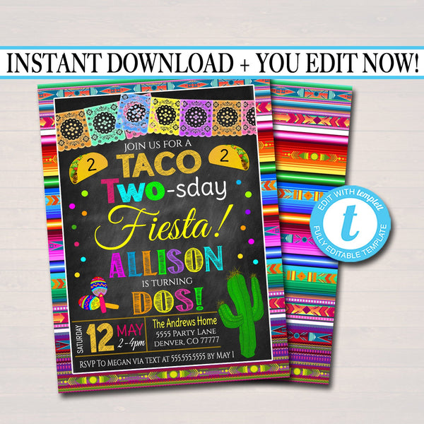 Editable Taco Two-sday Second Birthday Fiesta Invitation, Chalkboard Printable Kid's Birthday Party, Cinco De Mayo Invite, INSTANT DOWNLOAD