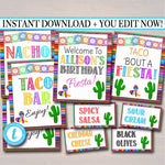 Fiesta Signs, Printable Mexican Theme Party Decor, Graduation, Baby Bridal Shower, Cinco de Mayo, Taco Nacho Bar