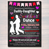 Daddy Daughter Sweetheart Valentine's Day Dance, School Dance Flyer Party Invite, Church Community Event, pto pta,