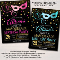 Masquerade Birthday Invitation, Printable Surprise Party Invite Glam Birthday  Invite, Mask Any Age Party