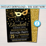 EDITABLE Masquerade Birthday Invitation, Printable Surprise Party Invite Glam Birthday Digital Invite, Mask Any Age Party INSTANT DOWNLOAD