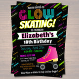 EDITABLE Glow Skating Birthday Invitation, Cosmic Skatel Neon Invite Birthday Digital, Glow in Dark Thank You Party Tags INSTANT DOWNLOAD