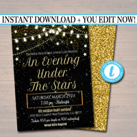 Prom Dance Invitation. Starry Night, Gold Glitter An Evening Under The Stars High School Dance Event, Pto, Pta
