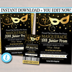 Prom Set, Dance Flyer Invitation Ticket Masquerade Ball, Gold Glitter Formal Gala, High School Event, Pto, Pta