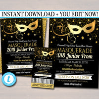 EDITABLE Prom Set, Dance Flyer Invitation Ticket Masquerade Ball, Gold Glitter Formal Gala, High School Event, Pto, Pta INSTANT DOWNLOAD