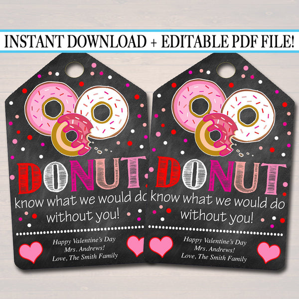 EDITABLE Valentine's Day Donut Gift Tags, Staff Teacher Volunteer Appreciation Gift, Donut Hole Gift Tag, Thanks a Latte INSTANT DOWNLOAD