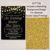 Prom Set, Dance Flyer Invitation Ticket Starry Night, Gold Glitter Under The Stars High School Event, Pto, Pta