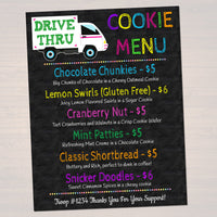 EDITABLE Drive Thru Cookie Booth Menu Sign, Digital File Troop Leader, Cookie Banner, Bake Sale Sign, INSTANT DOWNLOAD Fundraiser Printables