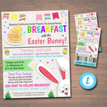 EDITABLE Easter Brunch Egg Hunt Flyer, Printable Invite Party Invitation pto pta Church Community Kids Breakfast with the Easter Bunny Event