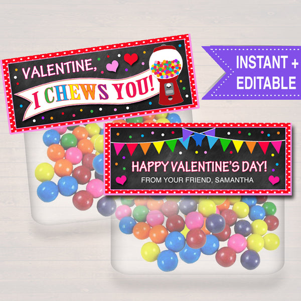 EDITABLE Bubble Gum Valentine's Day Gift Tags, Friend Classroom Classmate Printable, Gumball I Chews You Treat Bag Toppers, INSTANT DOWNLOAD