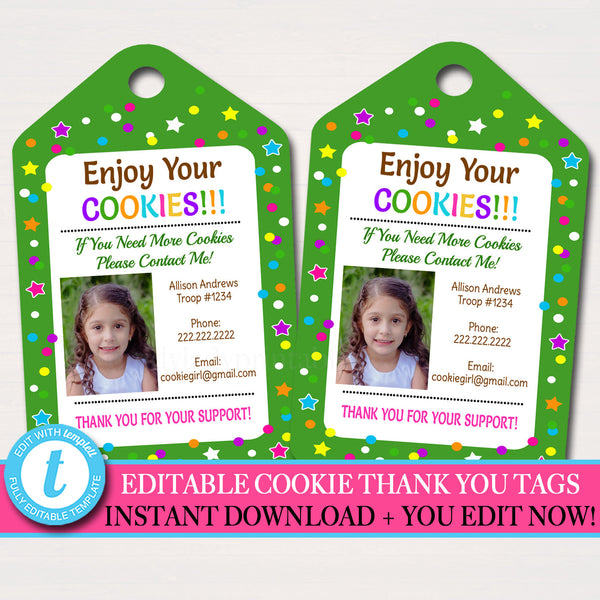 EDITABLE Photo Thank You Tag, INSTANT DOWNLOAD Printable Thank You Card Template, Cookie Receipt Product Delivery Thank You Troop Printable