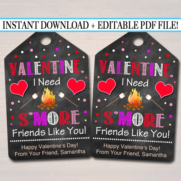 EDITABLE Valentine's Day Smore Gift Tags, Classroom School Gift, I Need S'more Friends Like You Printable Treat Bag Labels, INSTANT DOWNLOAD