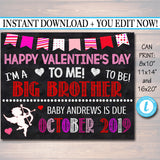 Valentine Big Brother Pregnancy Announcement, Printable Chalkboard Photo Prop, Feb Pregancy Reveal, Happy Valentine's Day To Me Sibling Sign