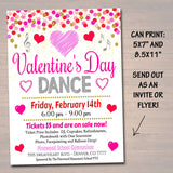 EDITABLE Valentine's Day Dance Set School Dance Flyer Party Invite, Church Community Event, Sweetheart Dance, pto pta, INSTANT DOWNLOAD