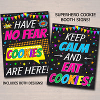 Printable Superhero Themed Cookie Booth Sign Set, Cookie Booth Donate Cookies, Stop Cookies Here Digital Cookie Drop Banner INSTANT DOWNLOAD