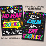 Printable Superhero Themed Cookie Booth Sign Set, Cookie Booth Donate Cookies, Stop Cookies Here  Cookie Drop Banner