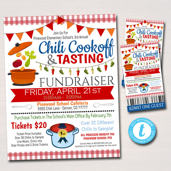 EDITABLE Chili Cookoff Dinner Fundraiser Flyer Ticket Set, pto pta Church Community School Benefit Event, Gumbo Soup Invite INSTANT DOWNLOAD