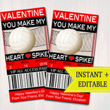 EDITABLE Volleyball Ticket Valentine's Day Cards, INSTANT DOWNLOAD, Printable Kids Valentine, Classroom Valentine, You Make My Heart Spike!