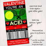 EDITABLE Tennis Ticket Valentine's Day Card, INSTANT DOWNLOAD, Printable Sports Tennis Kids Valentine, Classroom Valentine, You're An Ace!