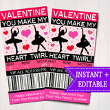 EDITABLE Ice Dancer Ticket Valentine's Day Cards, INSTANT DOWNLOAD, Printable Kids Valentine, Girl Classroom Ballerina, Make My Heart Twirl