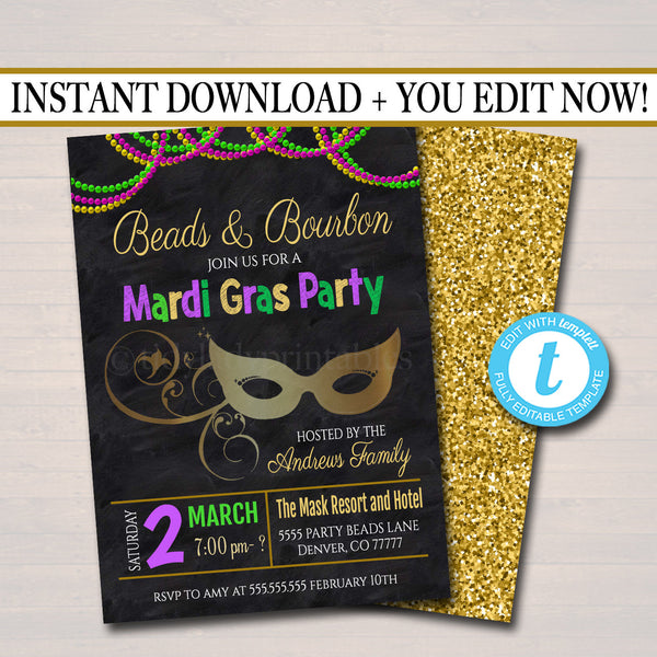 Mardi Gras Bachelorette Party Invitation, Glitter Green Purple Gold Invite, Beads and Bourbon, New Orleans,