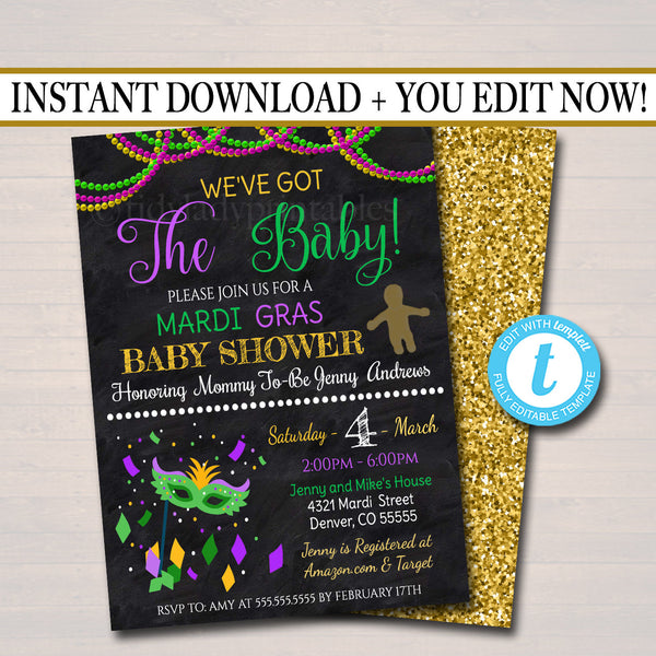 Mardi Gras Baby Shower Party Invitation, We've Got the Baby Sprinkle, Gold Purple Green, King Cake, New Orleans