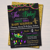 EDITABLE Mardi Gras Baby Shower Party Invitation, We've Got the Baby Sprinkle, Gold Purple Green, King Cake, New Orleans INSTANT DOWNLOAD