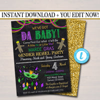 EDITABLE Mardi Gras Gender Reveal Party Invitation, Green Purple Gold Invite Baby Shower Sprinkle King or Queen New Orleans INSTANT DOWNLOAD
