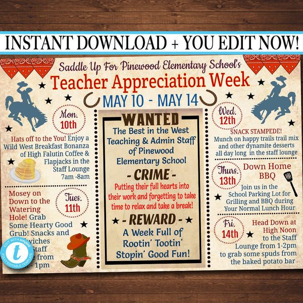 EDITABLE Western Themed Teacher Appreciation Week Itinerary Poster, Wild West Appreciation Week Schedule Events, INSTANT DOWNLOAD Printable