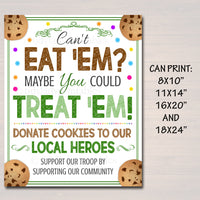Cookie Booth Sign If You Can't Eat 'Em Treat 'Em, Donate Cookies to Heroes, Police Firefighter Printable Cookie Drop Banner INSTANT DOWNLOAD