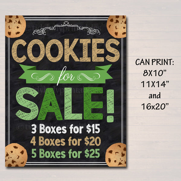 Cookie Booth Price Sign, Stop Cookies For Sale! Printable Cookie Drop Banner, Cookie Booth Sales Poster, INSTANT DOWNLOAD Fundraiser Booth