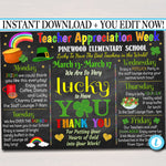 EDITABLE St. Patricks Day Teacher Appreciation Week Itinerary Poster Lucky Theme Appreciation Week Schedule Event INSTANT DOWNLOAD Printable