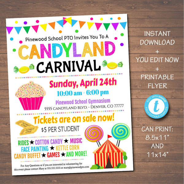 Candyland Themed Carnival Event Flyer - School Church Benefit Fundraiser Event Poster - DIY Editable Template