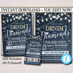 EDITABLE Denim and Diamonds Benefit Fundraiser Invitation/Flyer/Ticket Set Digital Invite, Formal Gala, Pto School Event, INSTANT DOWNLOAD