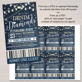 Denim and Diamonds Benefit Fundraiser Invitation/Flyer/Ticket Set  Invite